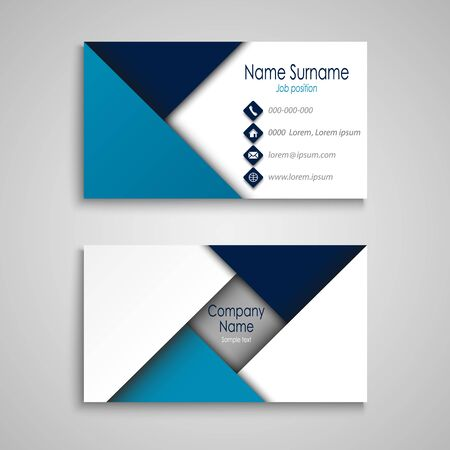 Business card with triangular pattern in blue white design vector eps 10