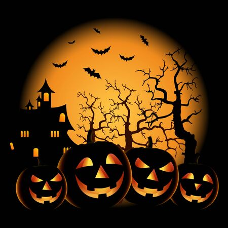 Ghostly Halloween poster with grinning pumpkins template vector eps 10 Ilustração