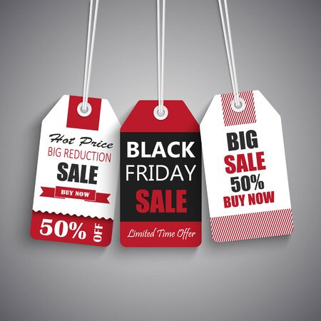 Black friday sale tags in red black white design