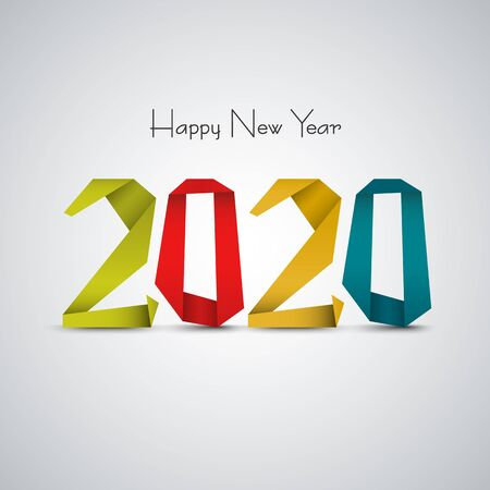 New Year  with abstract design colored folded paper