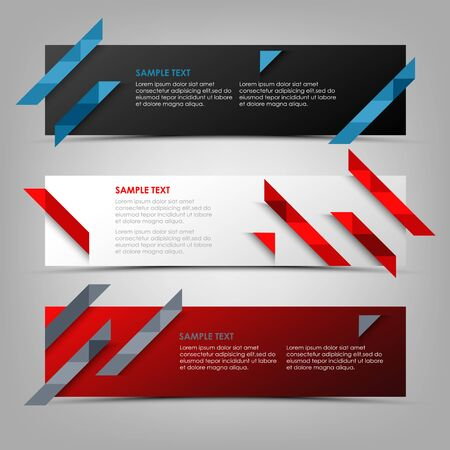 Collection abstract banners with triangular colorful strips template