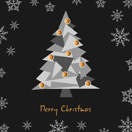 Christmas card with triangular tree in black gray design 向量圖像