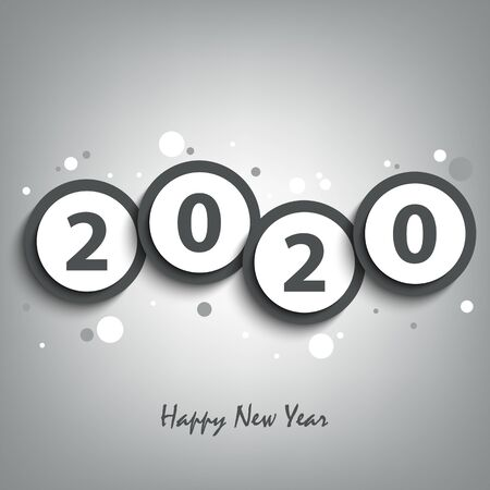 New Year card with round pointers in gray design template