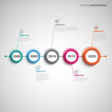 Time line info graphic with colorful abstract design circles vector eps 10 Illusztráció