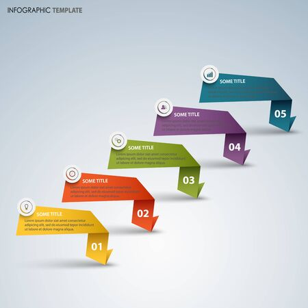Info graphic with colorful pointers of folded paper template vector eps 10
