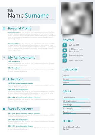 Professional personal resume cv in bright colors template vector eps 10