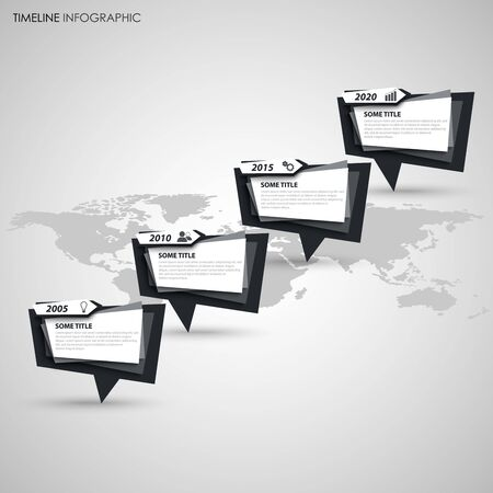 Time line info graphic with abstract pointers in black white design vector eps 10 Stock Illustratie
