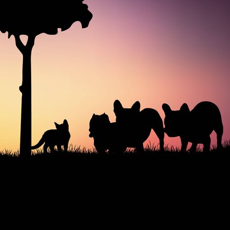 Silhouettes of dogs with kitten Ilustração