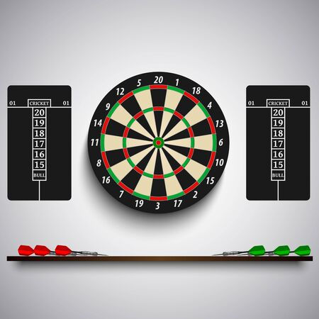 Dart board with colored steel tips on the wall vector eps 10 版權商用圖片 - 135264667
