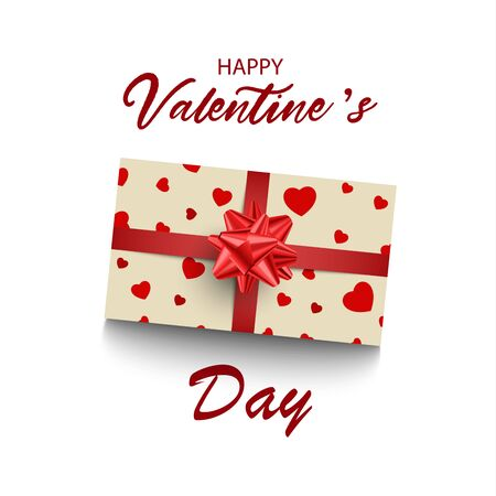 Valentine card with gift and hearts on white background vector eps 10