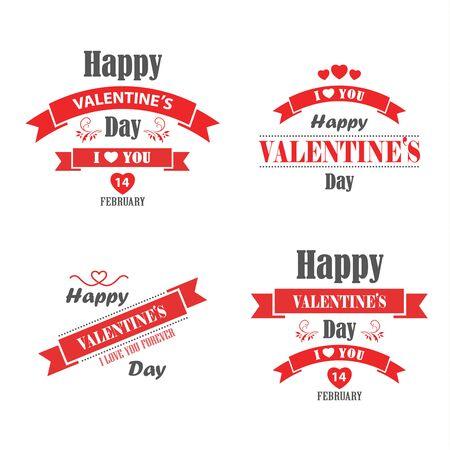 Poster vintage retrò di San Valentino con nastri rossi modello vettoriale eps 10 Vettoriali