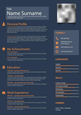 Professional personal resume cv in blue orange design template vector Vetores