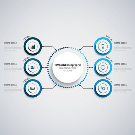 Info graphic with round elements in blue design vector eps 10