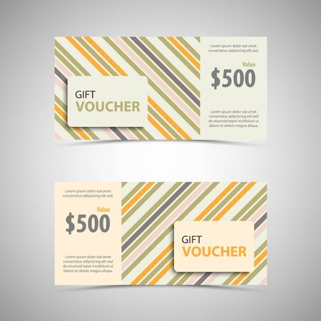 Gift voucher with stripes in retro design vector eps 10