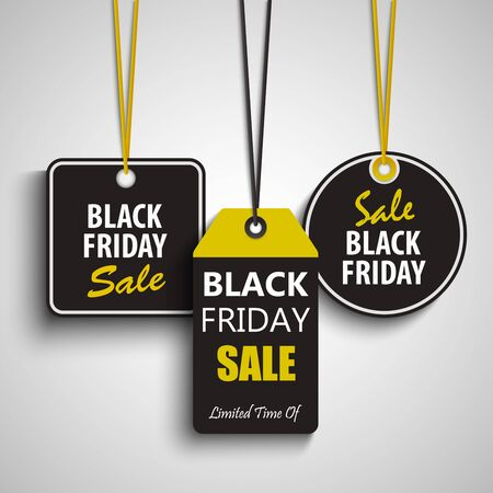 Collection of black Friday hanging sale design tags vector eps 10