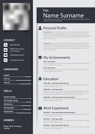 Professional personal resume cv with narrow stripes design