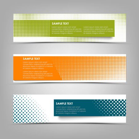 Collection abstract colorful banners with halftone effect vector eps 10