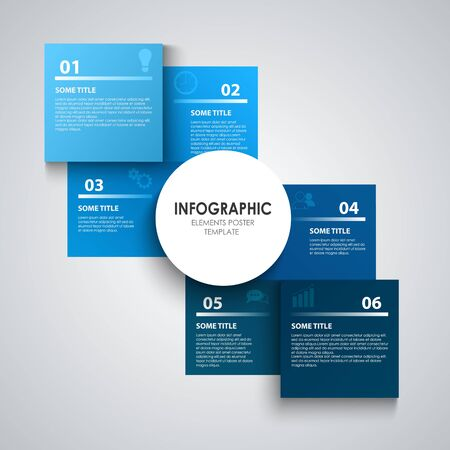 Info graphic with squares in blue design vector eps 10