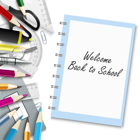 Back to school poster with supplies on white background vector eps 10 向量圖像