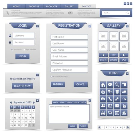 Collection elements navigation for website in blue design vector