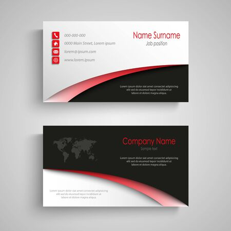 Business card with arches in white black red design vector eps 10 向量圖像