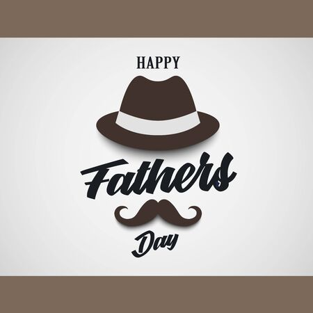 Fathers Day poster with hat and mustache in brown design vector eps 10