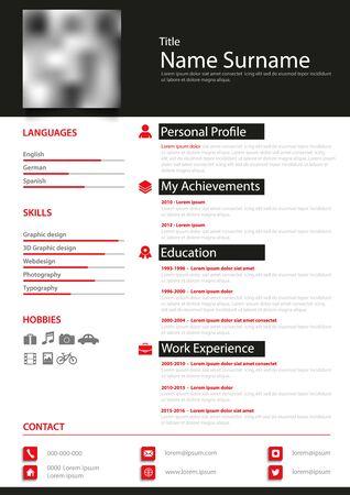 Professional personal resume cv in black white red design Vector Illustratie