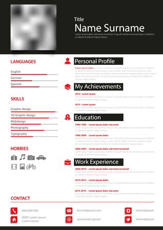 Professional personal resume cv in black white red design Illustration
