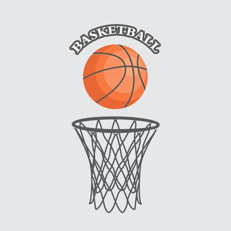 Basketball flat background with ball and hoop vector eps 10