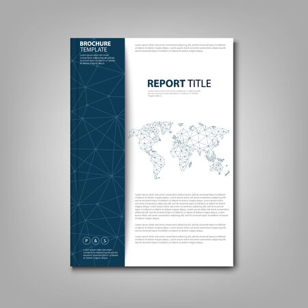 Brochures book or flyer with connection design and world map vector eps 10