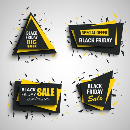 Collection black friday sale  banners in black yellow design vector eps 10