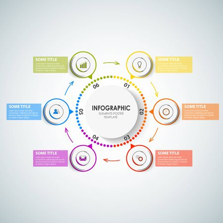 Info graphic with circular design pointers in different colors vector eps 10 Illustration