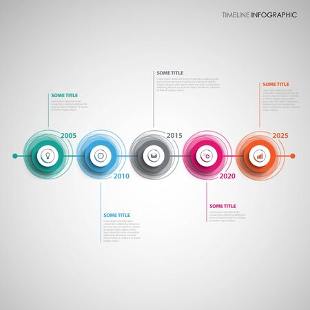 Time line info graphic with abstract colorful design circles vector eps 10