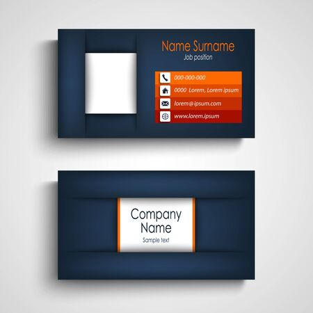 Business card in blue design with orange strips vector eps 10