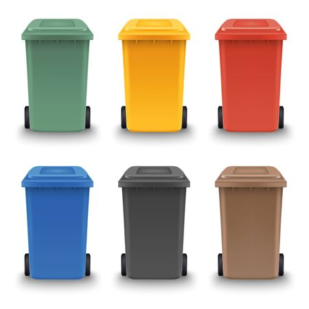 Collection of colorful plastic bin for different waste