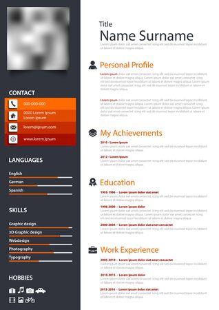 Professional personal resume cv in orange dark and white design Vector Illustratie