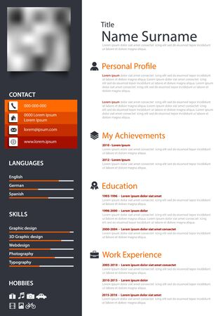 Professional personal resume cv in orange dark and white design 向量圖像