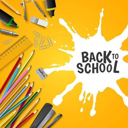 Back to school poster with supplies and white spot vector eps 10 Illustration
