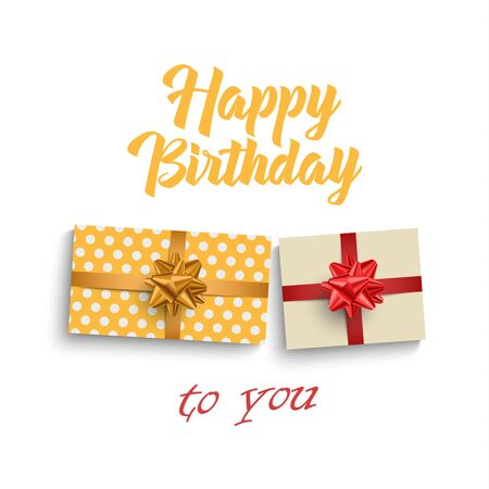 Birthday card with gifts on white background vector eps 10