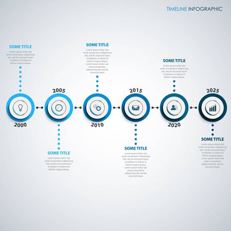 Time line info graphic with round pointers in blue scale design vector eps 10 Illustration