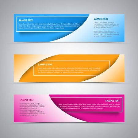 Collection banners with colorful stickers template vector eps 10
