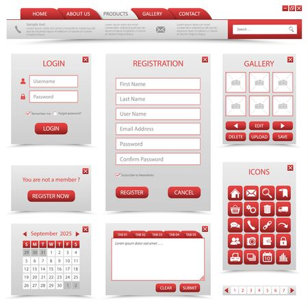 Collection navigation elements for website in red design vector eps 10