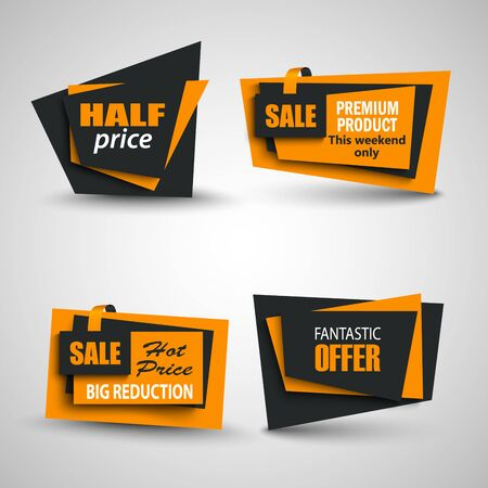 Collection sale pointers and labels elements in black orange design vector eps 10