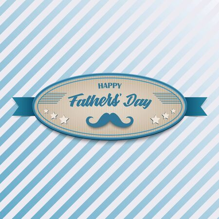 Fathers Day poster with retro vintage in blue design 向量圖像