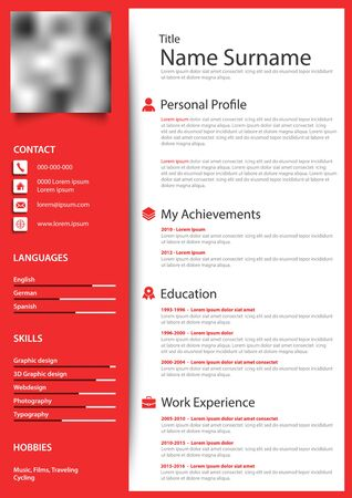 Professional personal resume cv in red white design template vector eps 10