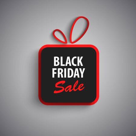Black friday sale with gift in red black design vector eps 10 Illustration