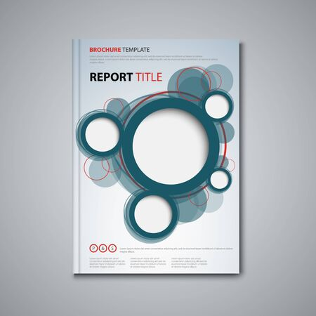 Brochures book or flyer with abstract circles in blue red design