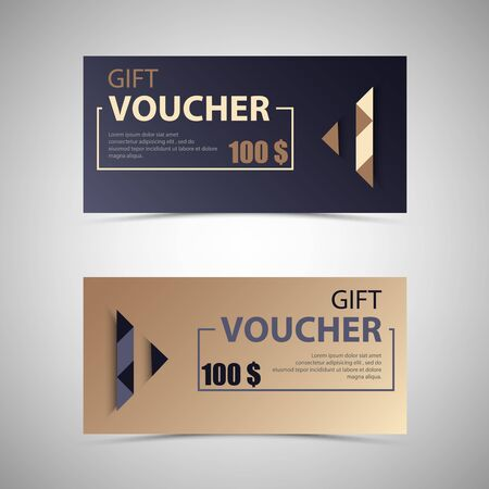 Gift voucher with design arrow in two variants template vector eps 10 Illustration