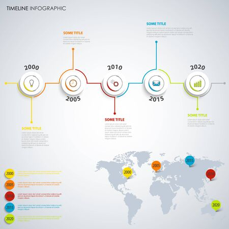 Time line info graphic with round pointers and color accessories vector eps 10