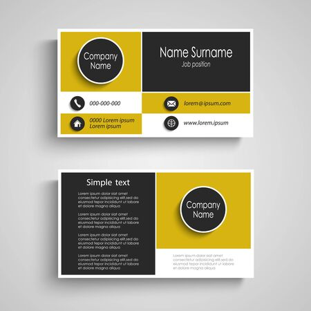 Business card with abstract stripes in yellow black white design vector eps 10